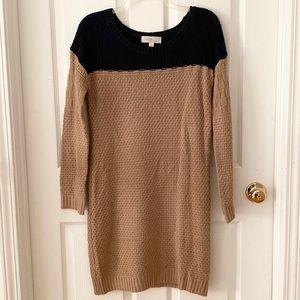 Tan & Navy Sweater Dress